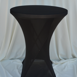 Close up of a black spandex tablecloth on a cocktail table.