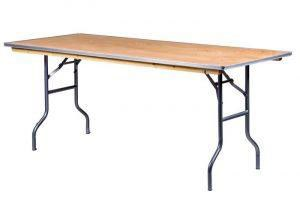 72 inch by 30 inch wood rectangular table with metal trim in front of a white background.